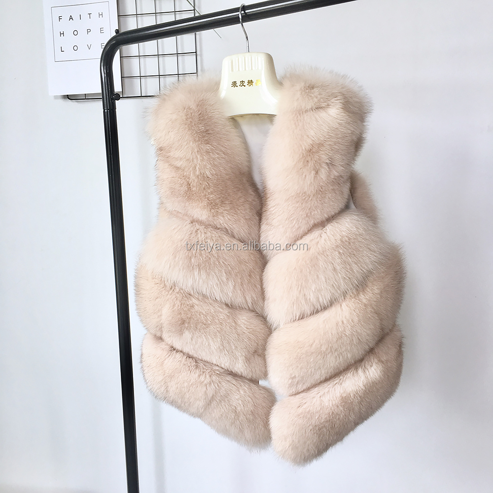 Winter Women Fur Vest Genuine Fox Fur Waistcoat Real Fox Fur Gilet for Girls