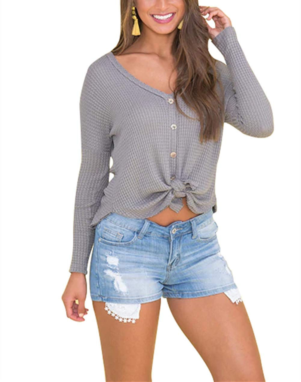 d84d5fe31 Get Quotations · ZZER Womens Long Sleeve Waffle Knit Tunic Blouse Tie Knot  Henley Tops Bat Wing V Neck