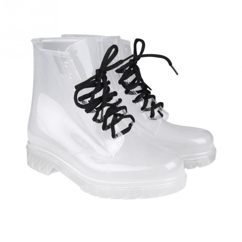Mode Mädchen Großhandel Boots Von Neue Gummi Transparente Stiefel Für Bking Schnüren Frauen Flache Regen Schuhe Weibliche Ankle Klare 2WEHIYD9