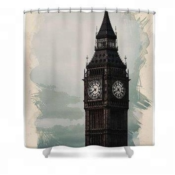 Customized Shower Curtain Waterproof Polyester Orange Fabric Famous City Landmark Pattern Big Ben Bathroom