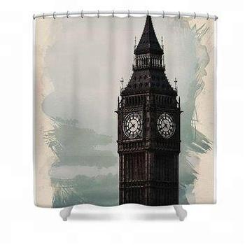 Customized Shower Curtain Waterproof Polyester Orange Fabric Famous City Landmark Pattern Big Ben Bathroom