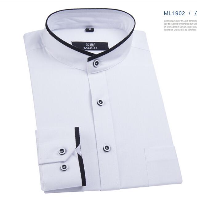 b14f6372275a Buy White black mandarin collar shirt for men shirt slim fit mens dress shirts  long sleeve fashion brand high quality men clothes in Cheap Price on ...