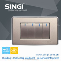 10A 4 gang single way electrical wall switch golden color 118*70mm Zigbee LED light switch