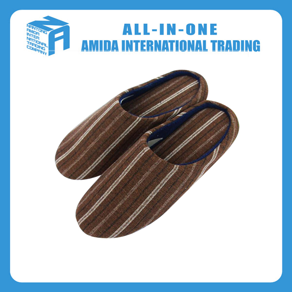 High quality customized winter fashionable stripe warm cotton <strong>slipper</strong>