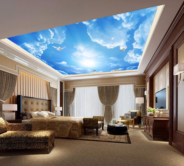 Guangzhou Customize Sky Ceiling Mural Wallpaper 3d Wall Murals