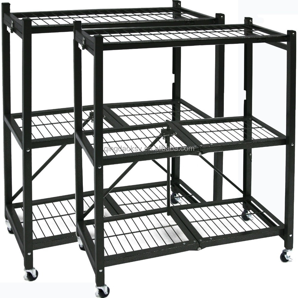 heavy duty folding metal storage shelf with wheels