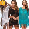 europe style fringe design women summer beach bikini cover up