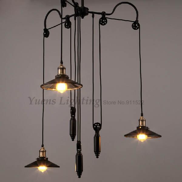 Industrial Pulley Light Fixture: Vintage Loft Industrial Pulley Retractable Mirror Pendant