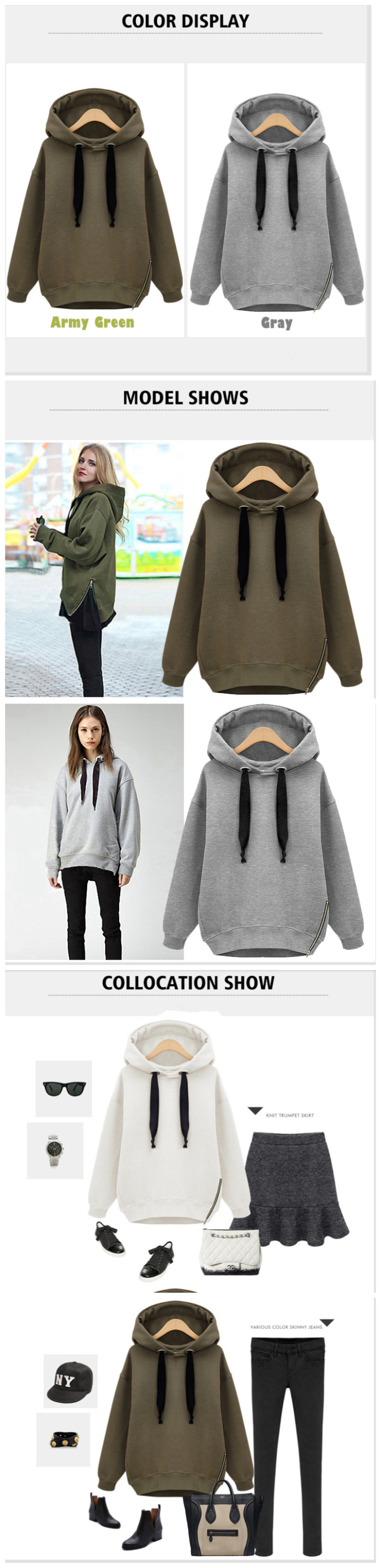 high quality 100% fabric cotton double two sided side zipper hoodie with hood