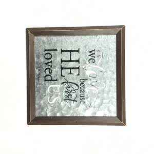 Square galvanized plate letters printing decorative metal wall frame