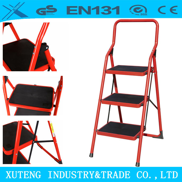 household ladder square tube step ladder with handrail
