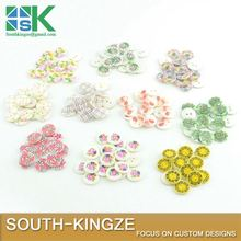 50 PCS 15MM seashell buttons 10 designs floral printed flat back 2 holes natural clothing craft children button