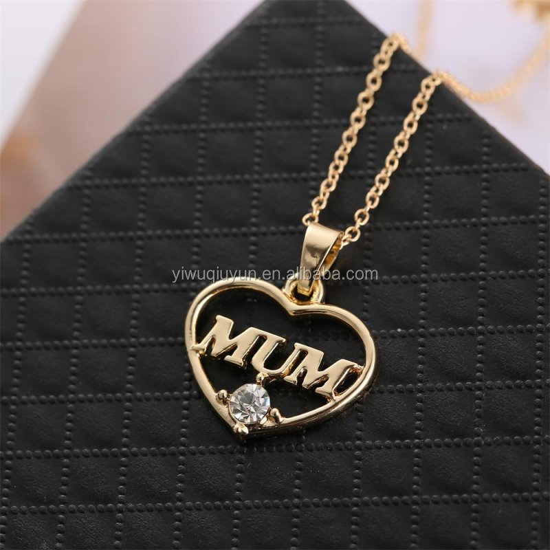 2016 Family Jewelry Mother's Day Gift Letter Mum Heart With Rhinestone Pendant Necklace Best Gold Mom