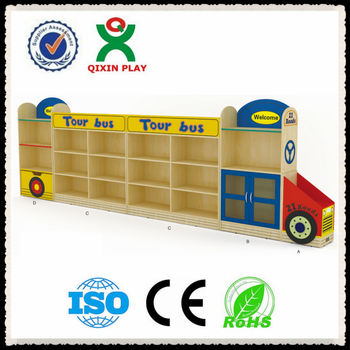 High Quality Wooden Bus Cheap Used Daycare Furniture Sale Kids Furniture Kids Wooden Toy  Storage Cabinet QX