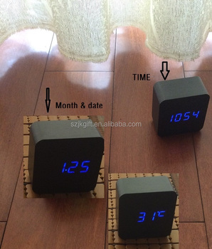 2016 hot sale newest home desk led wood clock wth voice control led digital clock wooden clock