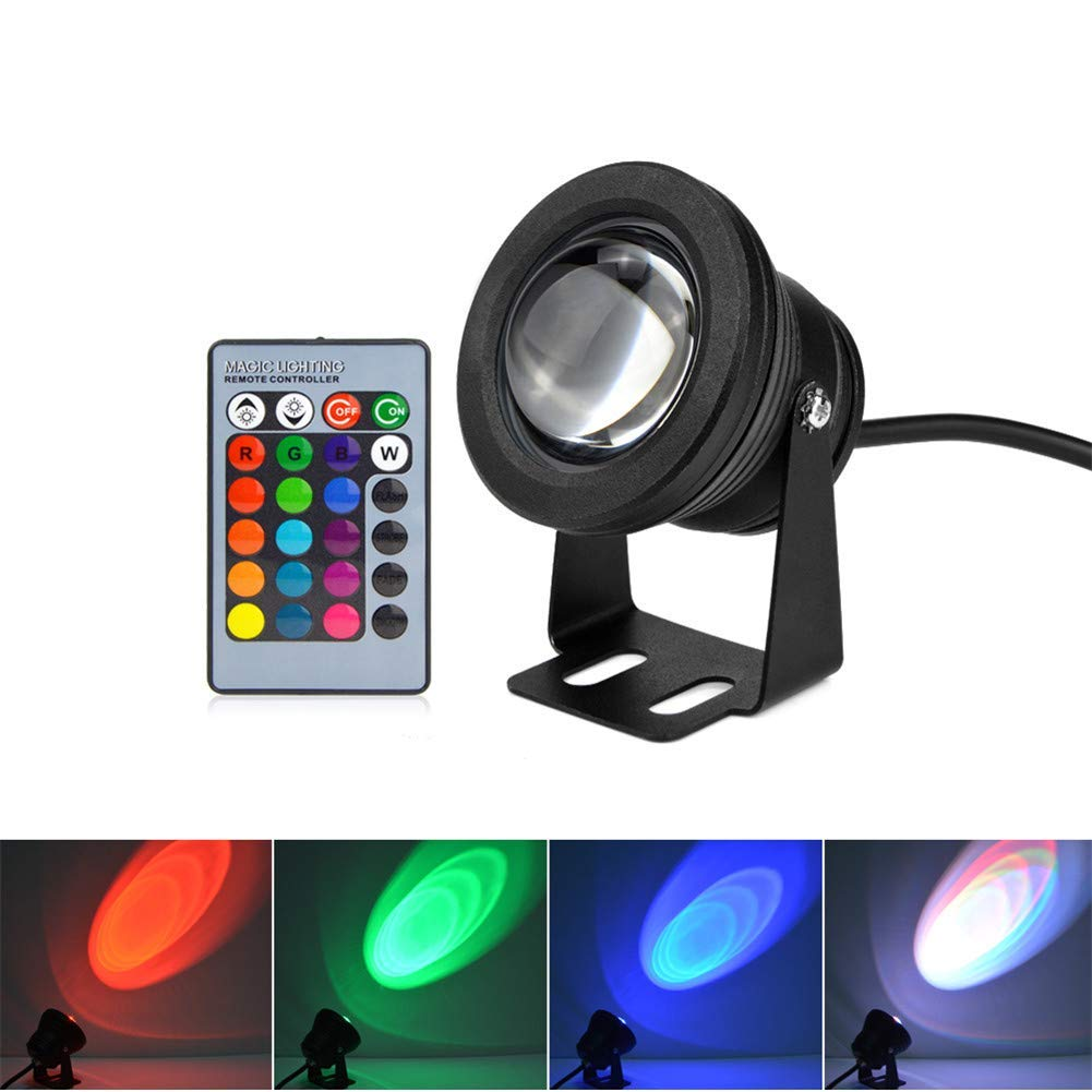AIMENGTE LED Underwater Lights, LED Underwater Color Pool Light, 1000lm IP68 Waterproof LED Spotlight Flood Lamp for Diving Fountain Swimming Pool Pond Piscina Fish Tank Aquarium. (RGB)