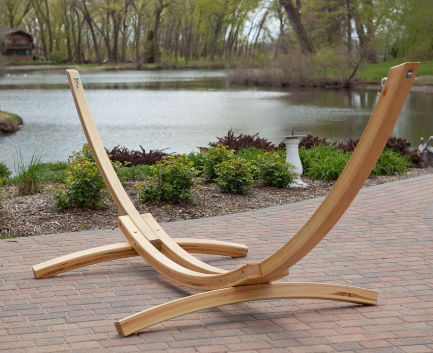 Deluxe Wood Arc Two Person Adult Wood Hammock Stand Set