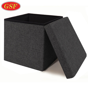Lift Top Foldable Ottoman Storage Box,Square Cube Fabric Storage bus box storage Ottoman folding chair