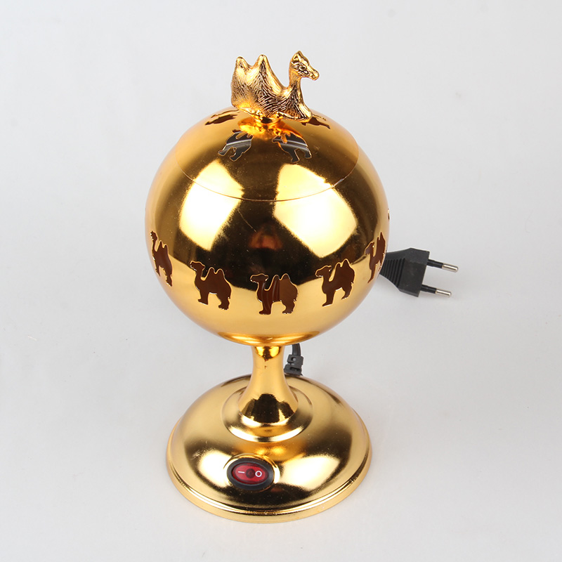 new style shiny golden electric incense burner ball/globe shape censer with eu plug incensory thurible