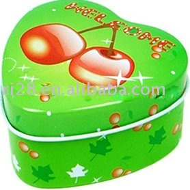 Fruit mint heart shape tin box