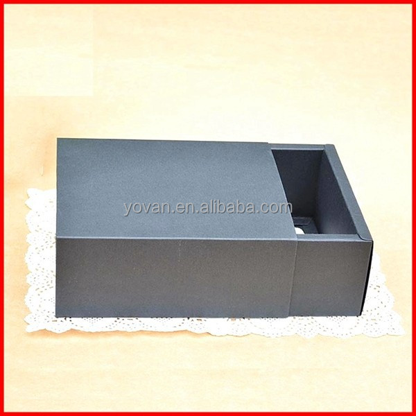Custom Black Card Paper Gift Box Drawer Packing Wholesale