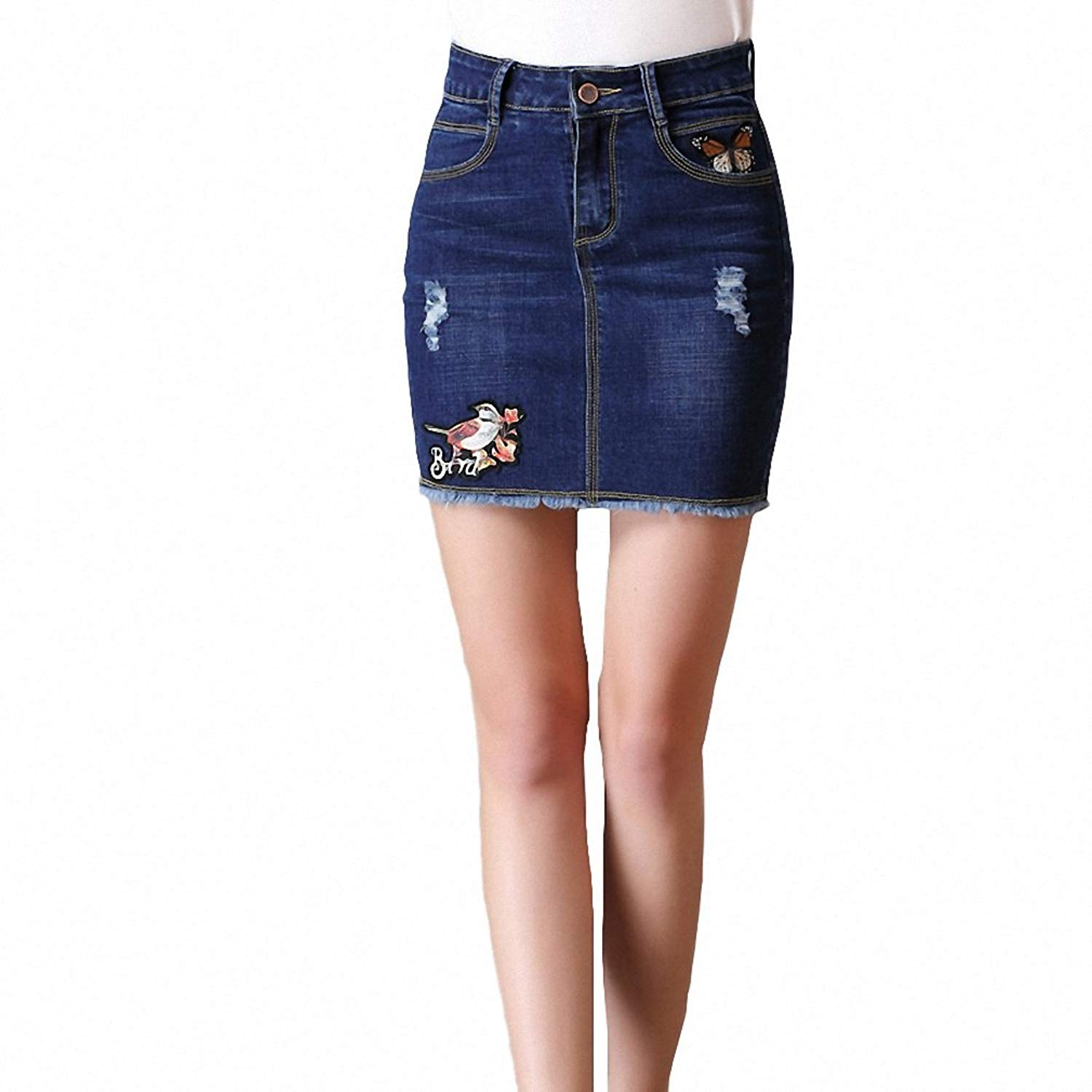 497f71be3d28 Women Denim Pencil Skirt NEW Summer Ladies Butterfly Embroidery Ripped  Jeans Skirts High Waist Short Mini
