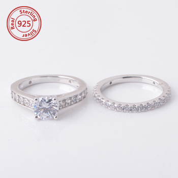 af310312d3d0 De plata esterlina pasado futuro 2-Pc nupcial conjunto anillo de compromiso  anillo de boda