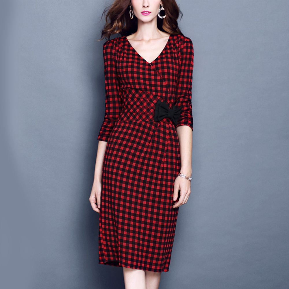 Femme Rouge Plaid Bandage Robe Casual Work Party V Cou Robes 2016 Automne Moitié Manches Genou Longueur Robe Crayon