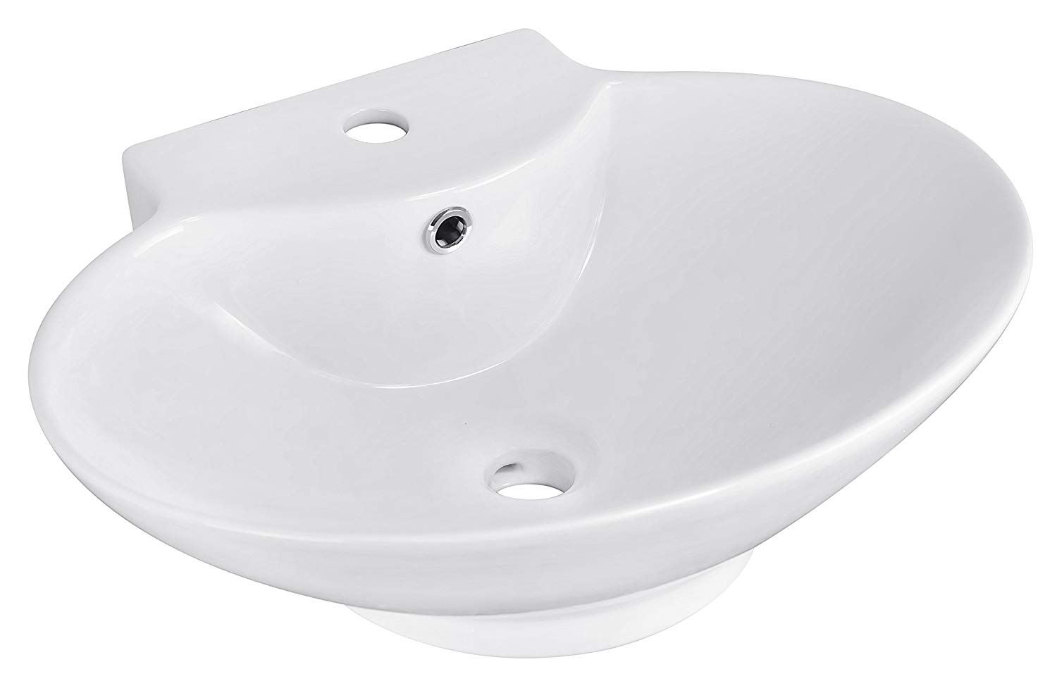 American Imaginations 590 Above Counter Oval White Ceramic Vessel for Single Hole Faucet Installation