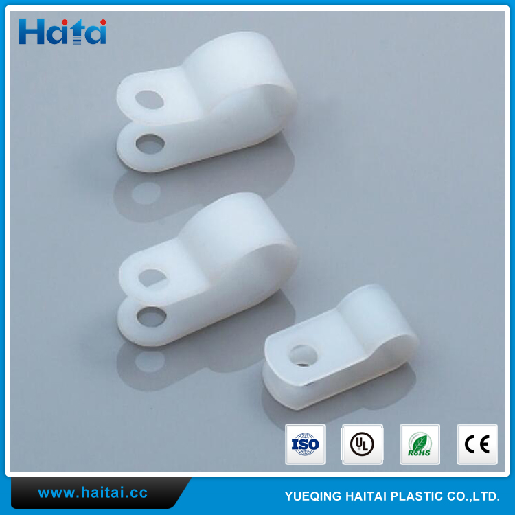 Haitai Low Price Small Size White Plastic Nylon 66 Material 94V-2 Fireproof R Type Cable Clamp