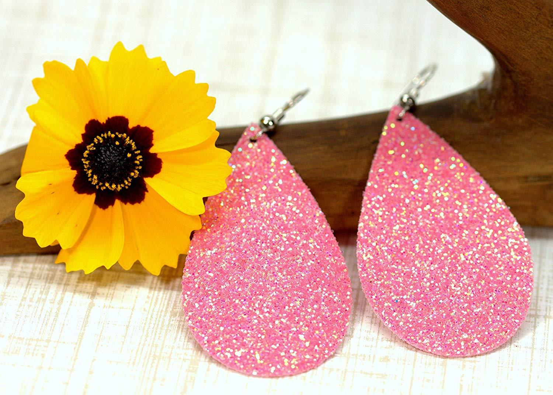 Jelly Bean Pink Glitter Vegan Leather Tear Drop Earrings