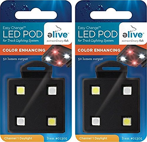 Elive LED Aquarium Fish Tank Pod Lighting - 2 Packs of Replacement Pods for LED Track Light, Color Enhancement White/Red