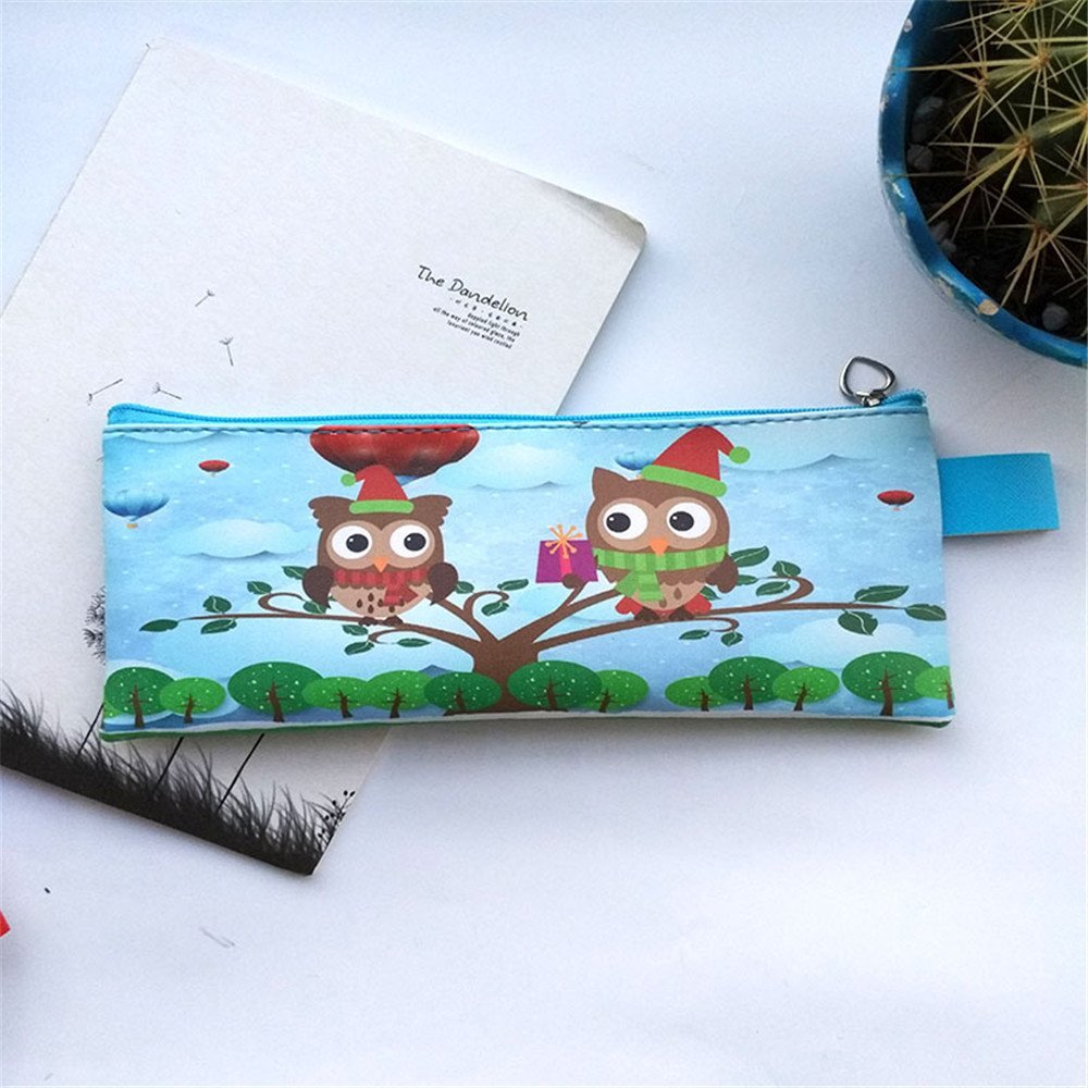 Katoot@ Kawaii Owl PU leather pencil bag for school Kids pencil case Stationery pouch Storage bag office school supplies canetas (Owl)