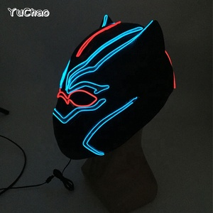 New arrival Cool Panther mask EL Wire Light up Mask Club Bar DJ Glowing Full Face Mask for Halloween Carnival Party