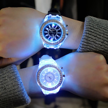 Geneva Ladies Rhinestone LED Big Dial Quartz Watch Luminous Fashion Wrist Watch