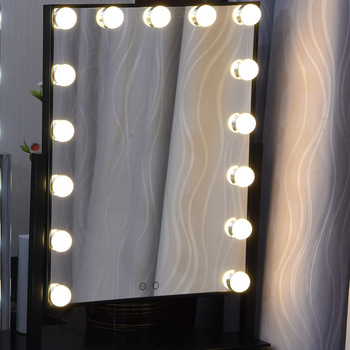 15 Bulbs Hollywood Lighted Makeup Vanity Mirror White Led With Lights Desktop Broadway