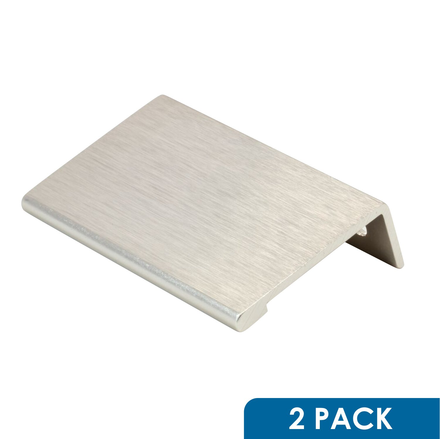"""2 Pack Rok Hardware 1-31/32"""" Hole Centers Modern Style Finger Edge Pull Aluminum Metal Brushed Stainless Steel Finish Home Kitchen Door Drawer Cabinet 2-3/4"""" Length Handle P898950SS"""