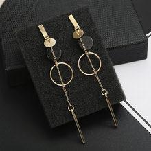 Серьги-капельки для женщин, модные украшения 2018, Длинные металлические серьги-подвески золотого/серебряного цвета, рождественский подарок(Китай)