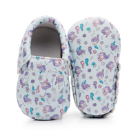 factory Mermaid baby girls shoes cartoon moccasins print leather soft sole toddler shoes