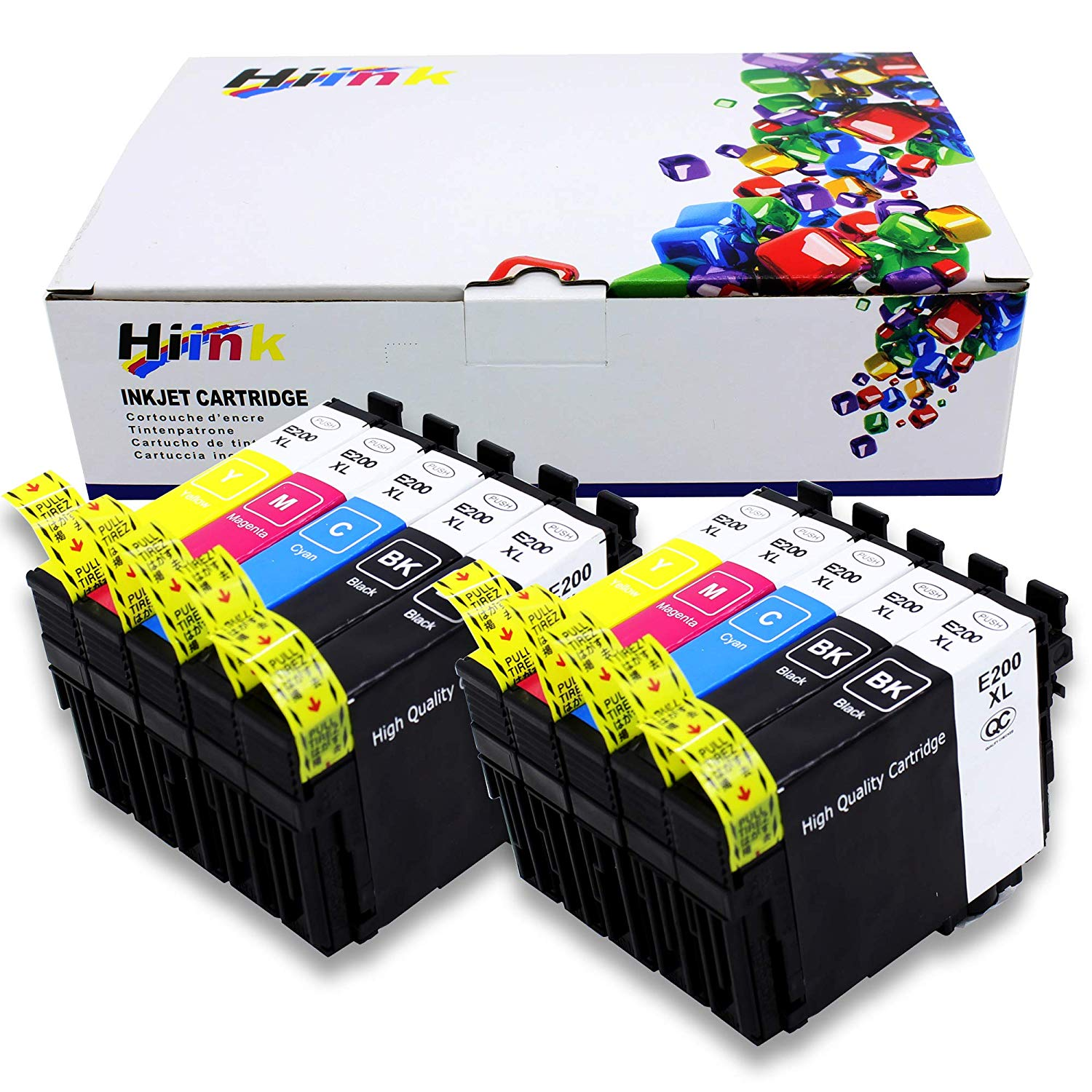 HIINK Remanufactured Ink Cartridge Replacement for Epson T200 200XL High Yield Ink Used with Epson XP-200 XP-300 XP-310 XP-400 XP-410 WF-2520 WF-2530 WF-2540 (10-Pack)