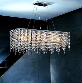 W32u0026quot; X D8u0026quot; Modern Linear Rectangular Island Dining Room Crystal  Chandelier Lighting Fixture 7