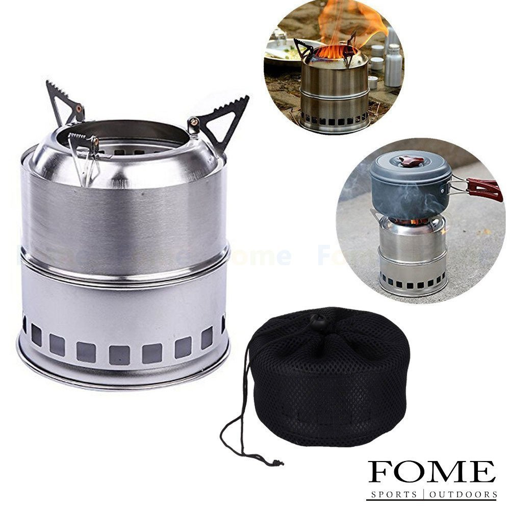Camping Stove, FOME SPORTS|OUTDOORS Potable Stainless Steel Wood Burning Camping Stove Solidified Alcohol Stove for Outdoor Cooking Picnic BBQ One Year Warranty