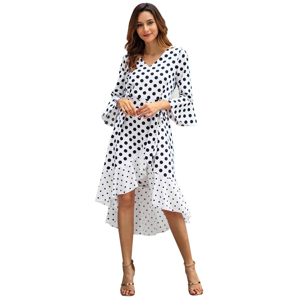 YILEYA customized mid calf V neck half sleeves ruffle chiffon vintage wave point swing polka dot dress women