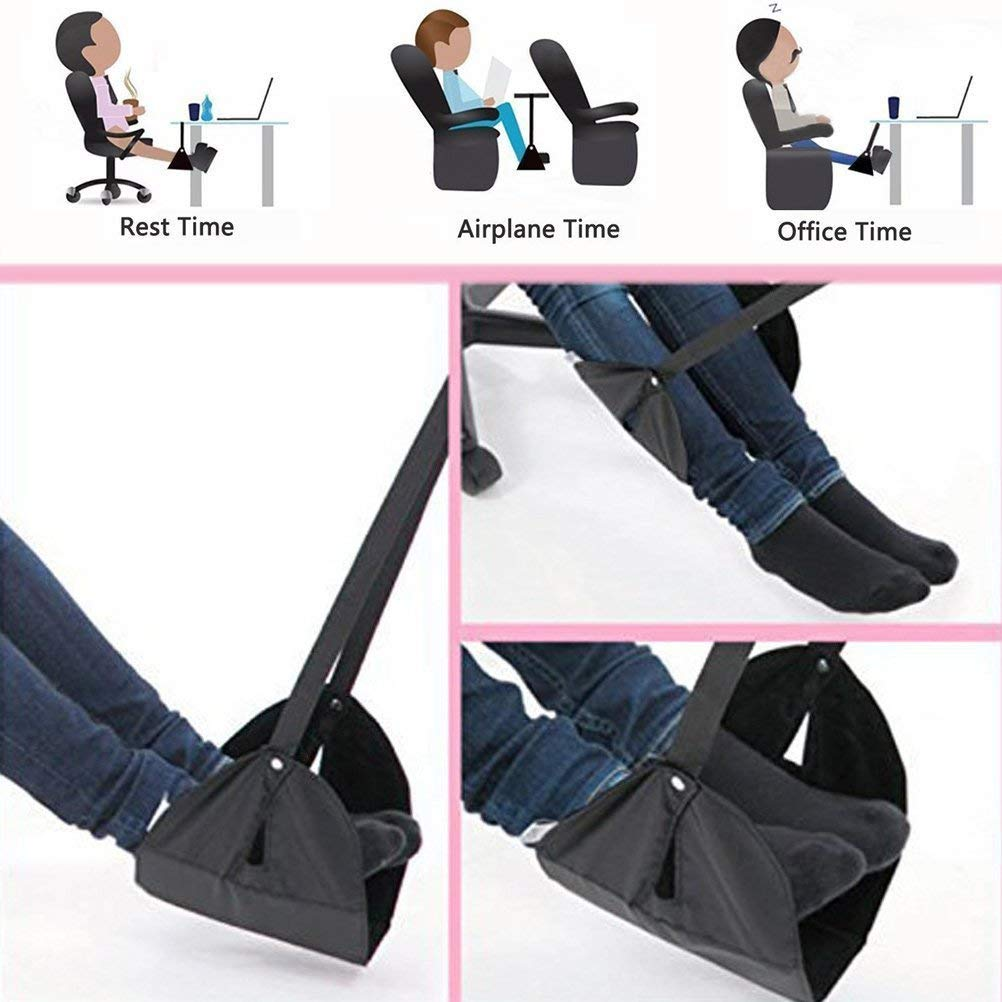 Travel Footrest for Airplane, Portable Foot Rest Hammock Long Flight Leg Rest Adjustable Height Feet Rest Under Desk Hammock for Office Home Plane Train (Black)