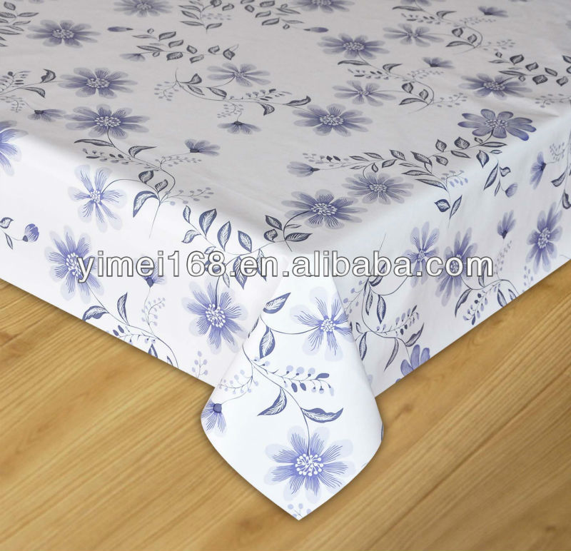 TC piping 0.12mm PVC + 50gsm Nonwoven tablecloth / double layers printed pvc table cover