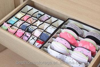 Set Of 4 Foldable Drawer Dividers Storage Bo Closet Organizers Under Bed Organizer