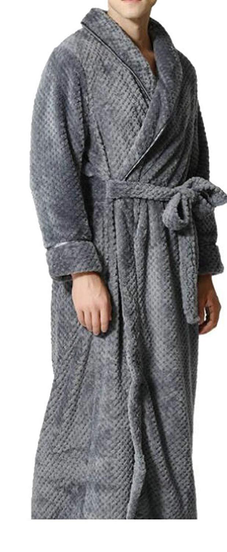 Get Quotations · Cromoncent Mens Warm Shawl Collar Flannel Jacquard Long Bathrobe  Robes d744fde3a