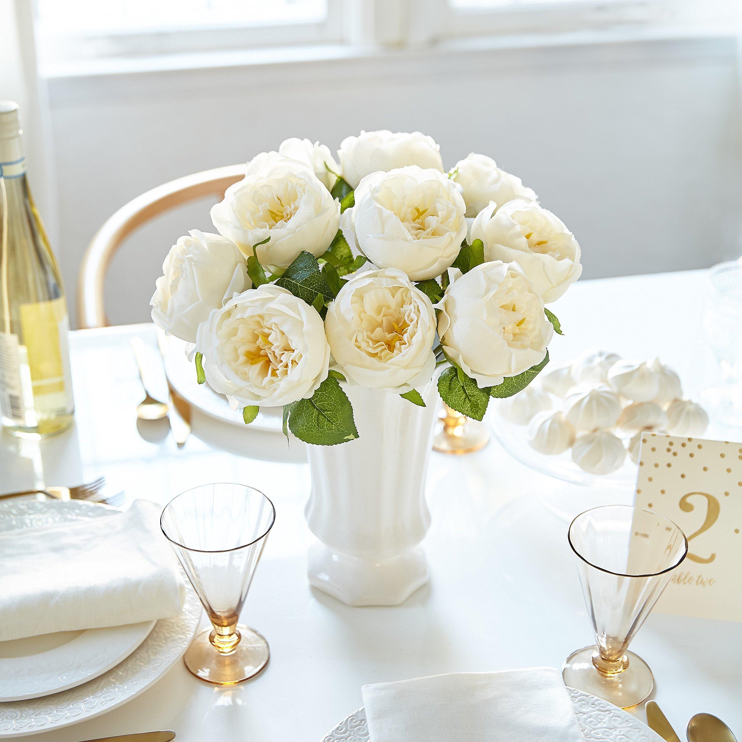 Artificial Peony Silk Flower Bouquet for Wedding Floral Arrangements and Home Decoration - Peach Color, 5 Stem Per Set