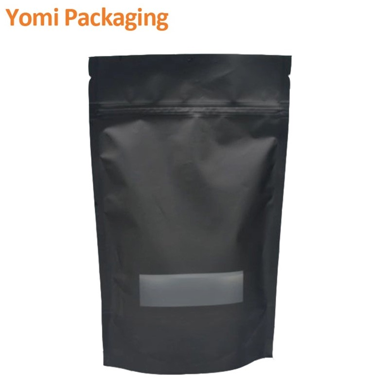 biodegradable 4 oz flat bottom valve packaging pouch matt black empty coffee bags 250g wholesale