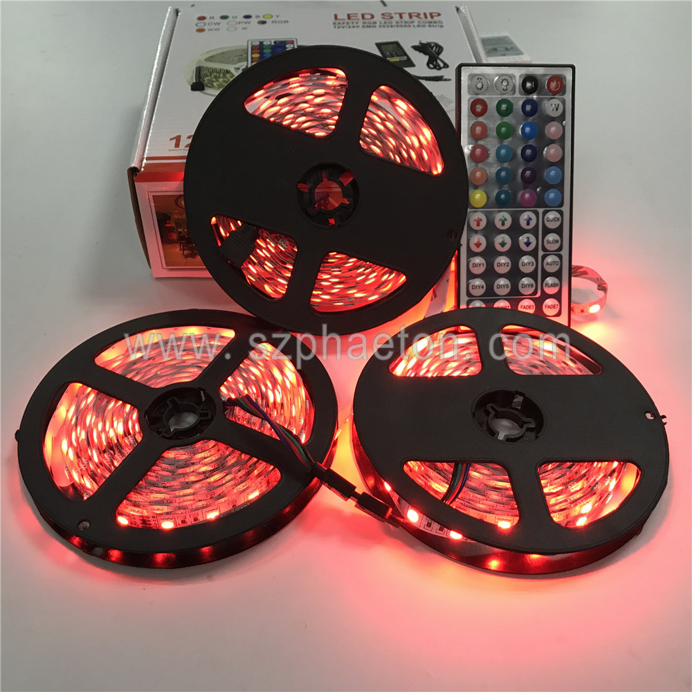 5m led strip 5050 rgb ip20 300 led tape light 44 Key Remote 12v 6a Power Supply Kit 5050 Kit Led Strip